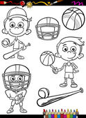Coloring Book or Page Cartoon Illustration of Black and White Boy Kid Playing Baseball and Basketball and American Football Set for Children