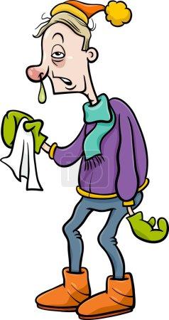 Man with flu cartoon illustration