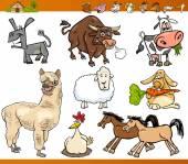 Cartoon Illustration Set of Funny Farm Animals Characters