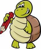 želva s tužkou kreslený obrázek