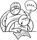 sleeping turtle on lesson coloring page