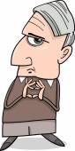 Cartoon Illustration of Thoughtful Man or Professor Considering Something