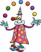 Cartoon Illustration of Funny Clown Circus Performer Juggling Balls