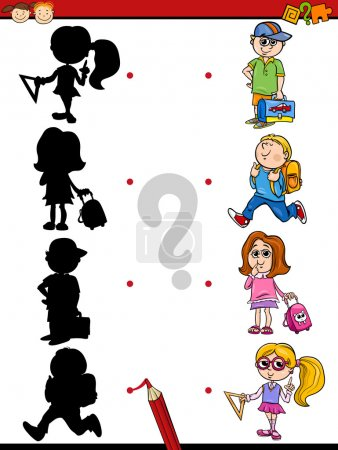Illustration for Cartoon Illustration of Education Shadow Matching Game for Preschool Children - Royalty Free Image