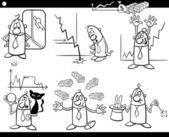 Black and White Concept Cartoon Illustration Set of Business Concepts and Metaphors