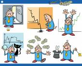 Cartoon Illustration Set of Funny Business Concepts and Metaphors