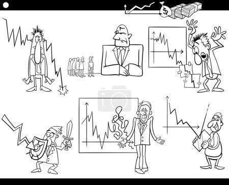 business cartoon crisis concepts set