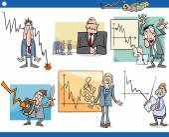 Cartoon Illustration Set of Economic Depression Business Concepts and Metaphors