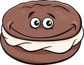 Cartoon Illustration of Sweet Whoopie Chocolate Pie with Cream Clip Art