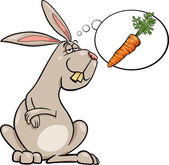 Cartoon Illustration of Funny Rabbit Dreaming about Carrot