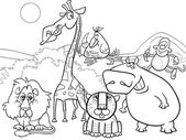 Black and White Cartoon Illustration of Scene with Wild Safari Animals Characters Group for Coloring Book