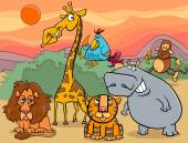 Cartoon Illustration of Scene with Wild Safari Animals Characters Group