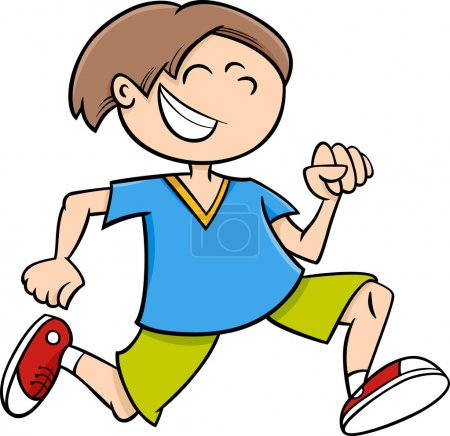 happy running boy cartoon