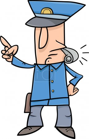 Illustration for Cartoon Illustration of Policeman Blowing the Whistle - Royalty Free Image