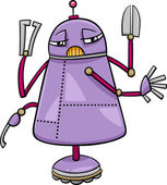 Cartoon Illustration of Funny Robot Science Fiction Character