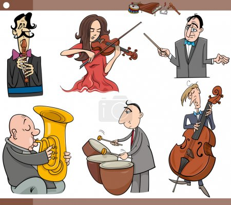 musicians characters set cartoon
