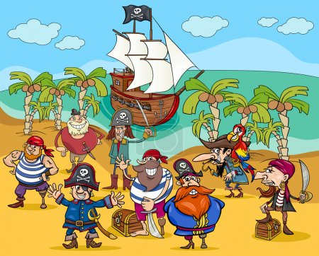 Photo pour Illustrations de dessins animés de personnages pirates fantastiques sur Treasure Island - image libre de droit