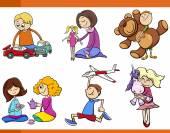 kids with toys cartoon set