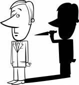 Black and White Concept Cartoon Illustration of Businessman and his Bad Shadow with Knife