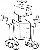 Black and White Cartoon Illustration of Robot Science Fiction Character for Coloring Book