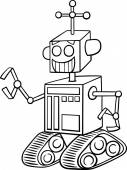 Black and White Cartoon Illustration of Funny Robot Fantasy Character for Coloring Book