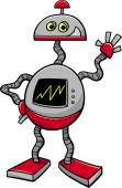 Cartoon Illustration of Robot or Droid Science Fiction Character