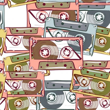 Pattern with vintage audio cassettes