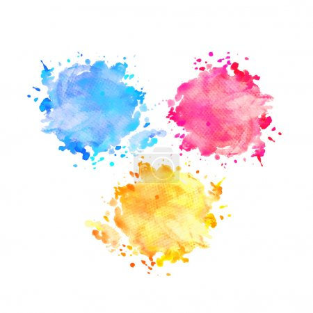 Hand drawn watercolor splashes