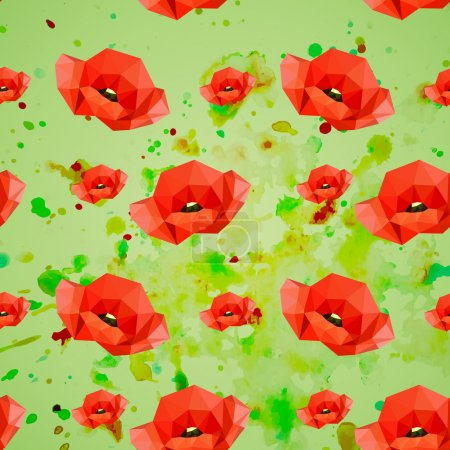 Illustration for Illustration of seamless pattern with red poppies on watercolor background - Royalty Free Image