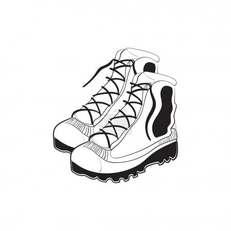 Hand drawn mountain boots