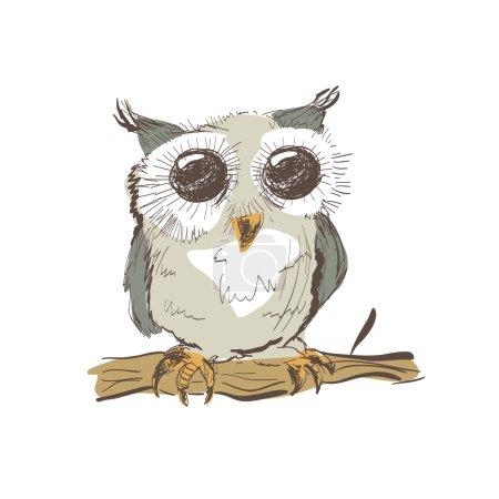 Illustration of doodle owl isolated on white backg...