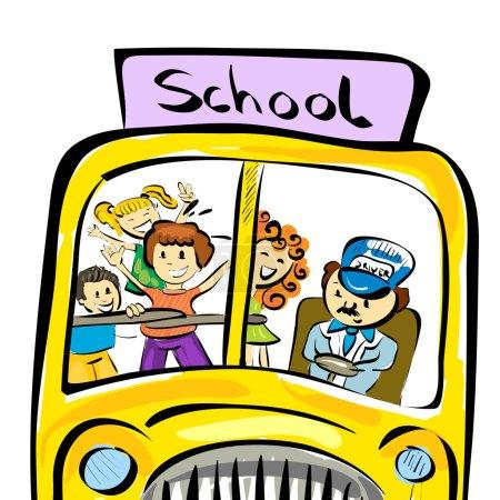 doodle school bus with kids