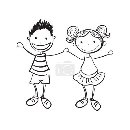 Hand drawn boy and girl