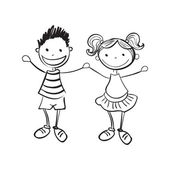 Illustration of hand drawn boy and girl isolated on white background