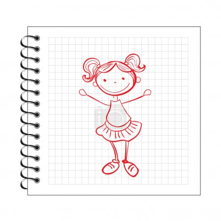 Doodle girl on notepad paper