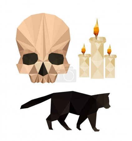 Illustration for Collection of flat design with halloween objects isolated on white background - Royalty Free Image