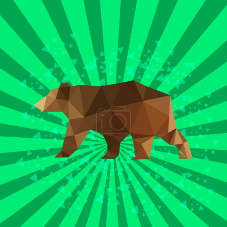 Illustration for Illustration of flat design with origami bear and retro background - Royalty Free Image