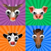 Illustration of funny origami set with farm animals on retro background