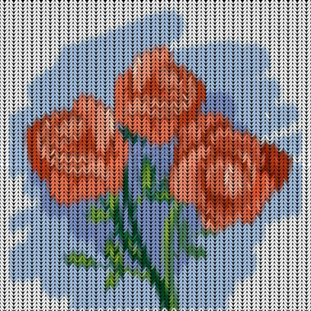 Knitted pattern with roses