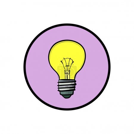 Illustration for Illustration of modern flat design with yellow light bulb isolated on white background - Royalty Free Image