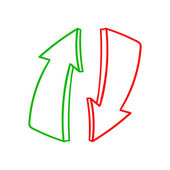 Green up and red down arrows