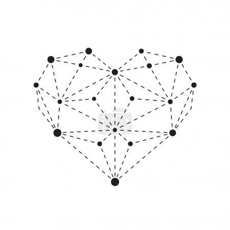 Illustration for Illustration of polygonal heart outline isolated on white background - Royalty Free Image