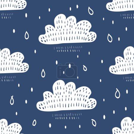 Illustration pour Fond sans couture avec des nuages de neige de dessin animé rétro - image libre de droit