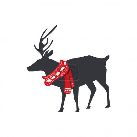 Flat deer with red winter scarf