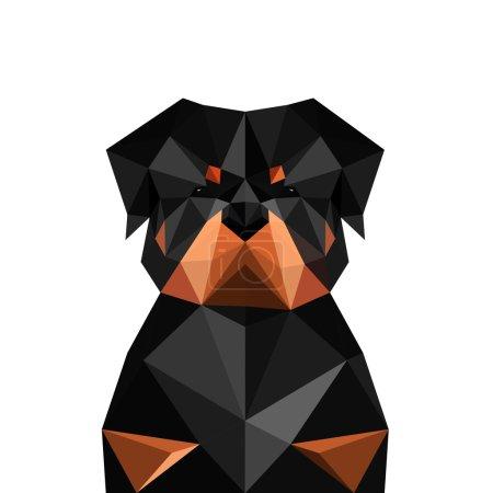 Illustration pour Illustration de chien origami rottweiler isolé sur fond blanc - image libre de droit