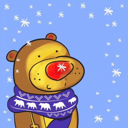 Cute bear with christmas scarf