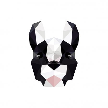 Modern flat design with origami french bulldog