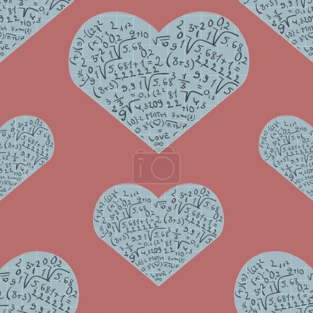Seamless pattern with mathematics formula on heart shapes