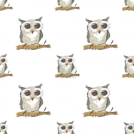 Illustration for Seamless pattern with doodle owl on white background - Royalty Free Image