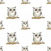 Seamless pattern with doodle owl on white background